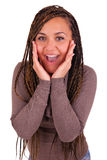Young african woman Surprised isolated Stock Image