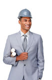 Young afro-american architect wearing a hardhat Royalty Free Stock Images