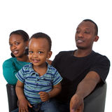 Young afro american family with bubbles Stock Image