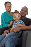 Young afro american family with bubbles Royalty Free Stock Image