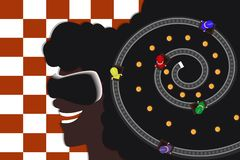 Young afro american girl in virtual reality glasses. Racing on the tracks. Modern flat. Checkered background stock illustration
