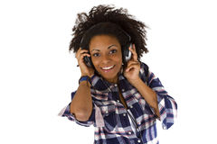 Young afro american with headphones Stock Images