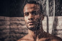 Young Afro-American Man Taking Shower in Bathroom. Young Afro-American Man Taking Shower in Bathroom at Morning. Standing Man with Bare Torso in Bathroom Stock Photography