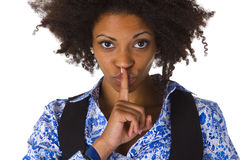 Young afro american saying shhh Royalty Free Stock Images
