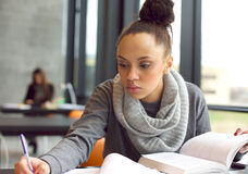 Young afro american woman doing assignments in library Royalty Free Stock Image