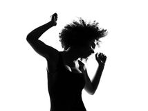 Young afro american woman silhouette dancing Royalty Free Stock Image