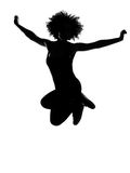 Young afro american woman silhouette happy jumping Royalty Free Stock Photo