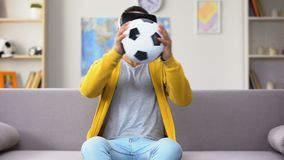 Young Afro-American y in VR headset saving goal, pretending to be goalkeeper stock footage