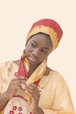 Young Afro beauty dressed for a celebration, thirteen years old Stock Image