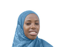 Young Afro beauty wearing a blue headscarf, isolated Royalty Free Stock Photo