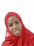 Young Afro beauty wearing a red headscarf, isolated Royalty Free Stock Images