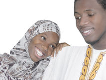 Young Afro couple showing love and affection, isolated Stock Photos