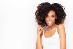 Free Young Afro Girl Posing In Studio Stock Photography - 149514962