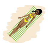 Young afro woman in bikini sunbathing lying on the beach Stock Images