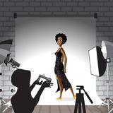 Young afro woman posing in photo studio on white background. Vec Stock Photos
