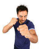 Young Aggressive Man Show His Fists Stock Photography
