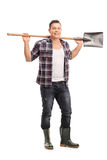 Young agricultural worker holding a shovel Royalty Free Stock Photos