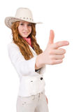 Young aiming cowgirl Stock Images