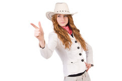 Young aiming cowgirl Royalty Free Stock Image