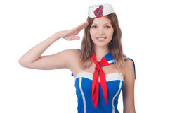 Young airhostess saluting. Isolated on white Stock Photography