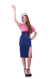 Young airhostess saluting Stock Image