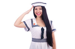 Young airhostess saluting. Isolated on white Royalty Free Stock Image