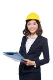 Young aisan beautiful architect working over white background Stock Photos