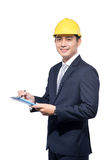 Young aisan handsome architect working over white background Royalty Free Stock Photo