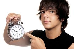 Young with an alarm clock Stock Photo
