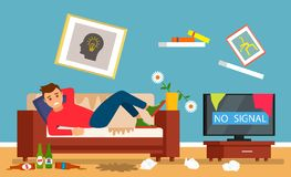 Young alcoholic guy sitting on the couch after a hangover with bottles of beer in a dirty room. flat vector illustration stock illustration
