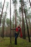 Young alone women in  forest Royalty Free Stock Photo