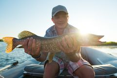 Young amateur angler royalty free stock photography