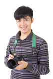Young amateur photographer. Of Asian hold a camera, closeup portrait on white background stock photography