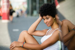 Young American african beauty posing outdoors Stock Images