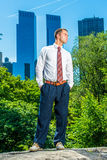 Young American Businessman traveling, working in New York in hot Royalty Free Stock Image