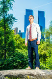 Young American Businessman traveling, working in New York in hot Royalty Free Stock Photos