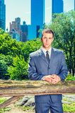 Young American Businessman traveling, working in New York, takin Stock Image