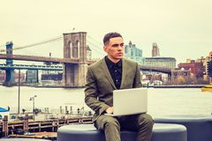 Young American Businessman traveling, working in New York stock image