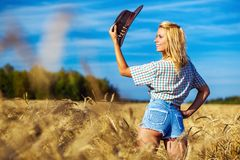 Young american cowgirl woman portrait Royalty Free Stock Images