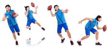 The young american football player on white Stock Images