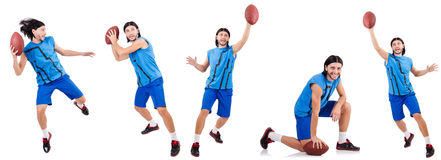 The young american football player on white Stock Photography