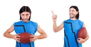 The young american football player on white Stock Photos