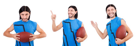 The young american football player on white Royalty Free Stock Photos