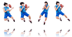 Young american football player on white Royalty Free Stock Images
