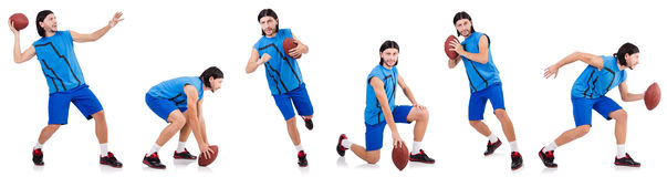The young american football player on white Royalty Free Stock Photo