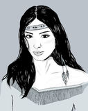 Young american indian woman portrait, hand drawn sketch, black hair. Young american indian woman portrait, hand drawn sketch, cherokee girl with black hair Royalty Free Stock Photo