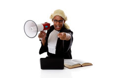 Young American judge man, accusing Stock Photo