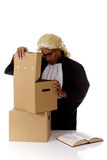 Young American judge man, storage boxes Stock Photo