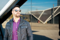 Young American man smiling happy with sunglasses portrait outdoor Royalty Free Stock Images