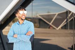Young American man smiling happy with sunglasses portrait outdoor Royalty Free Stock Photo